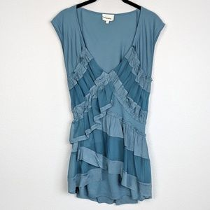 Anthropologie Deletta Muted Blue Ruffle Top